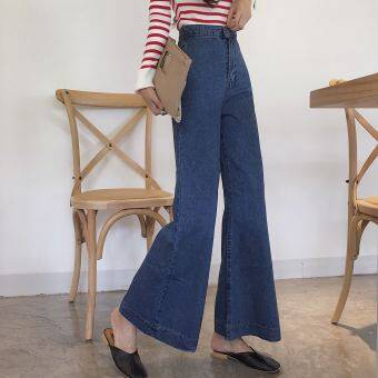 Chic retro 2017 autumn and dress New style to do the old wash high waisted Slimming