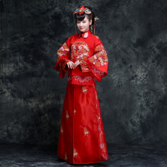 Harga Chinese traditional bride dress red wedding dress Dragon andPhoenix coat