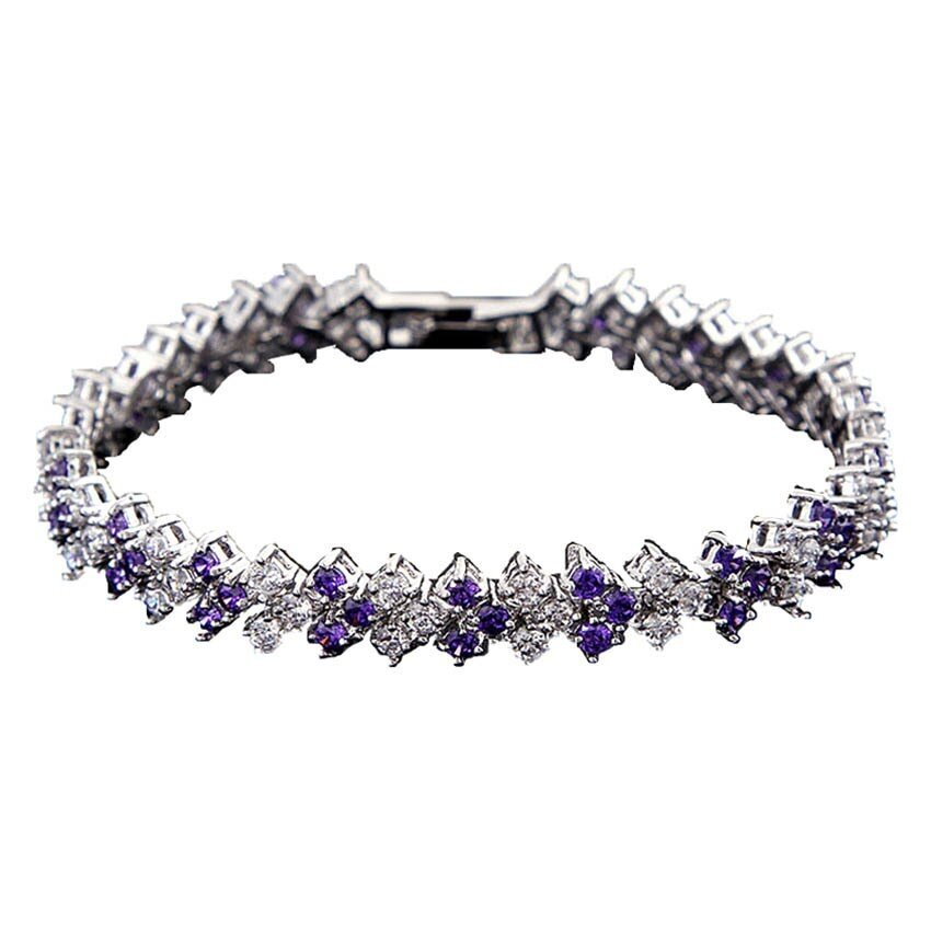 Classic CZ Zirconia Bracelet - Purple