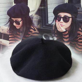 Classic Style Wool Beanie French Artist Beret Cap For Women