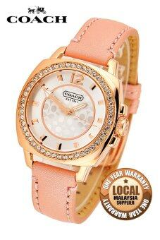 Coach 14501753 Leather Strap Watch (Pink)