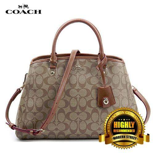 Bag Brownblack Coach F34608 Small Margot Carryall In Signature Brown Lazada Malaysia