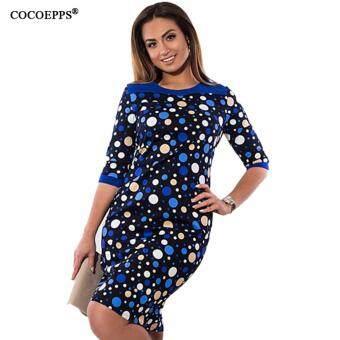 COCOEPPS 2017 New Floral Print Women Dress Big Size Elegant HalfSleeve Summer Dress Large Sizes Lady Office Bodycon Dress