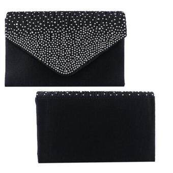 Coconiey Ladies Large Evening Satin Diamante Ladies Clutch Bag Party Envelope Black