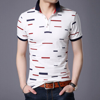 Harga Color Block version of dress loose short-sleeved Paul shirt poloshirt (White) (White)