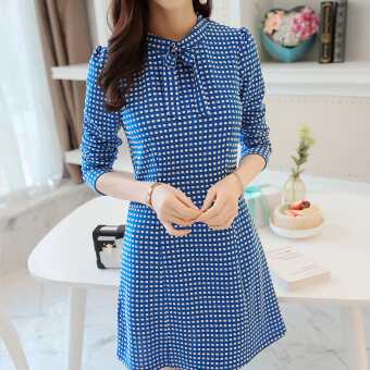 Color Diana 2017 spring and summer New style Korean-style fashion women's long-sleeved Slim fit waist knit dress bottoming skirt female (Navy blue)