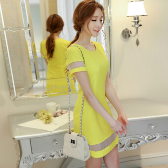 Color Diana 2017 spring and summer New style Women's Korean-style fashion Slim fit temperament stitching bottoming skirt dress female skirt (Bright yellow)