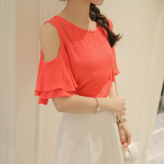 Harga Color Diana New style off-the-shoulder lotus leaf sleeve tideshort-sleeved chiffon shirt