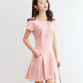 Color Diana New style Slim fit short-sleeved bottoming skirt dress(Pink) (Pink)