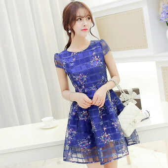 Harga Color Diana New style Slim fit Slimming effect organza dress