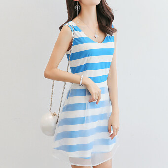 Color Diana New style Slim fit Slimming effect sleevelessKorean-style dress (Borland white of article)