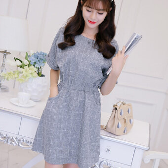 Harga Color Diana Slim fit gray grid bottoming fashion wild dress