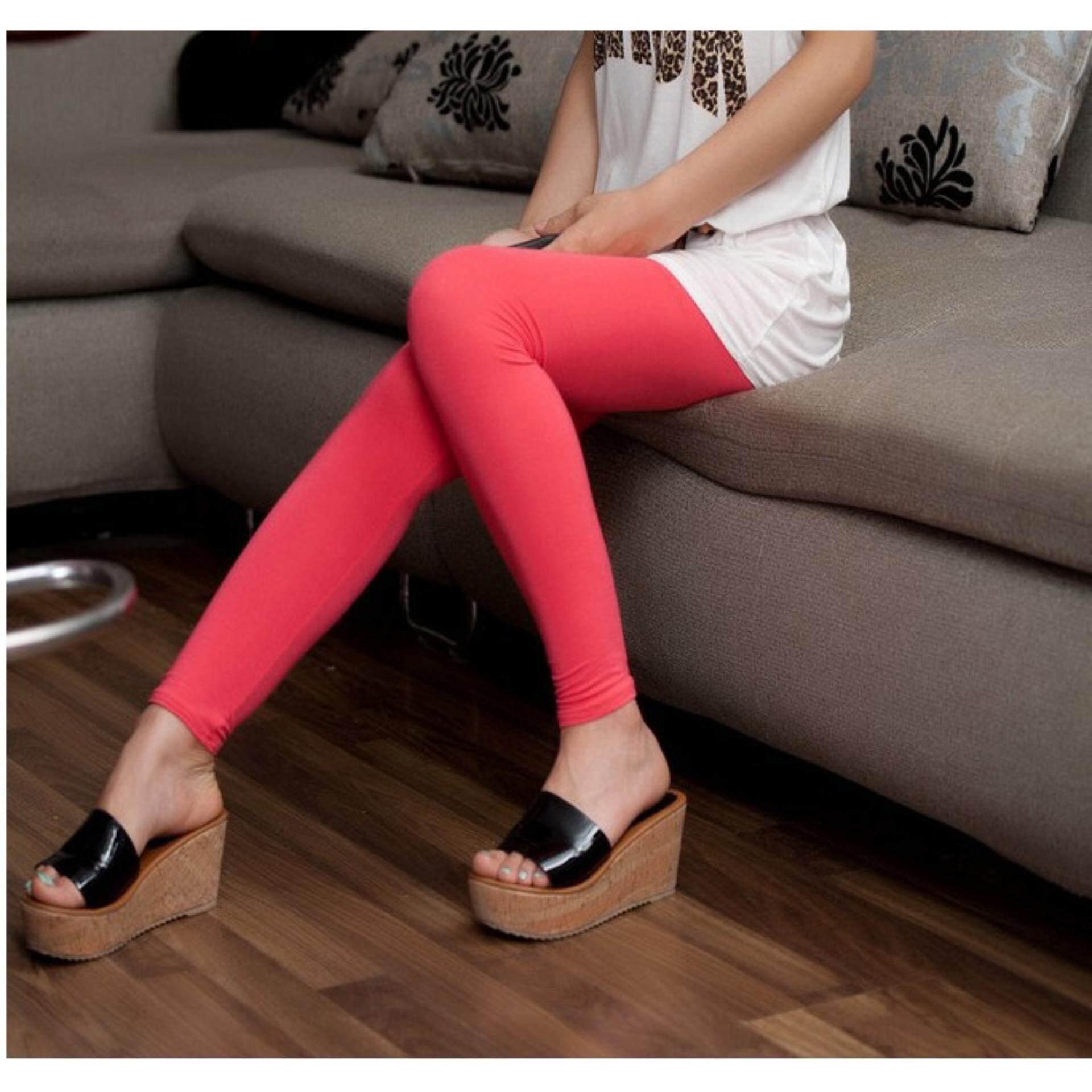 Colorful Modal Leggings - Melon Red
