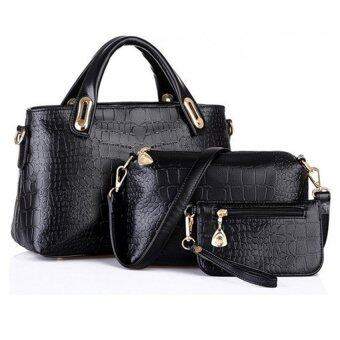 Como Faux Crocodile Leather Bags Set of 3 (Black)