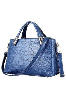 Como Faux Crocodile Leather Bags Set of 3 (Blue)