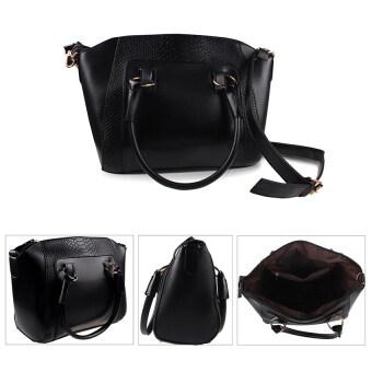COMO Faux Crocodile Shopper Bag Black