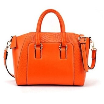 COMO Faux Crocodile Shopper Bag Orange