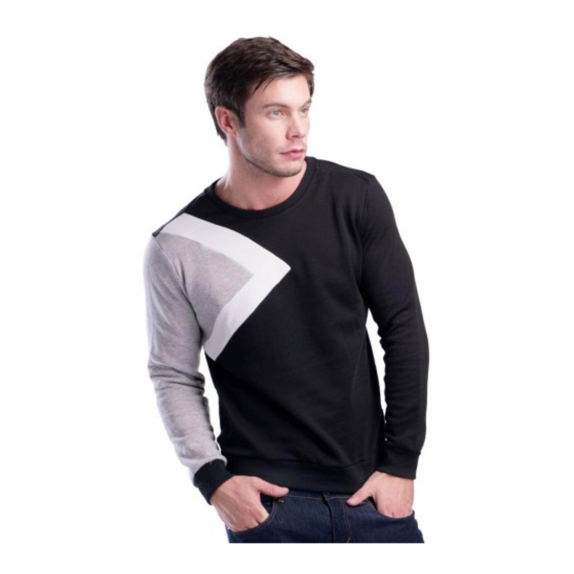 Contrast Color Printed Sweatshirt (31062-Black)