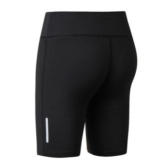 Harga Cool Cool Ladies Fitness Yoga Shorts Reflective Night Runs RunningTight Pants(Black)
