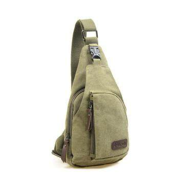 Cool Men's Outdoor Sports Casual Canvas Unbalance Backpack Shoulder Bag Crossbody Sling Chest Bag - Size S Army Green