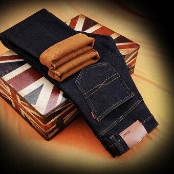 Cool wolf fleece-lined padded long Pants (Plus velvet 555 BLUE BLACK) (