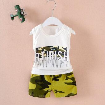 Cotton summer infants children vest suit (Vest letters camouflage white) (Vest letters camouflage white)