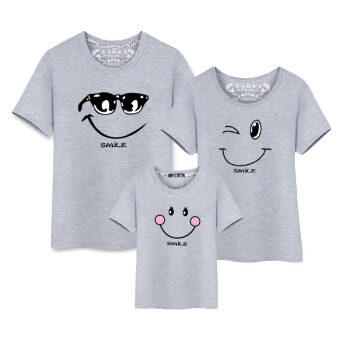 Harga Cotton Tees Family Matching Clothes Father Mother Kids OutfitsParent Kid T-Shirts (Mom Grey)