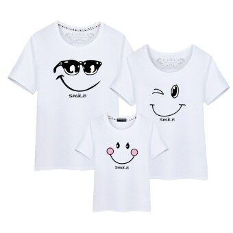 Harga Cotton Tees Family Matching Clothes Father Mother Kids OutfitsParent Kid T-Shirts (Mom White)