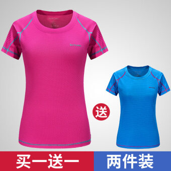 Couple male short-sleeved round neck loose fitness T-shirtquick-drying clothes (Female rose + lake blue)