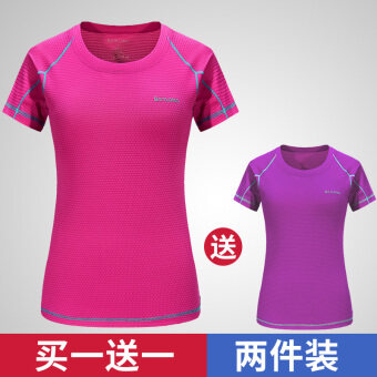 Couple male short-sleeved round neck loose fitness T-shirtquick-drying clothes (Female rose + purple)