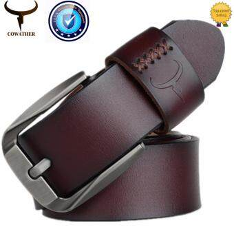 Harga COWATHER 2017 Men's 100% Cow Leather Belts Waist Band Strap Pin Buckle Belts Lelaki Kulit Belt with Single Prong Buckle