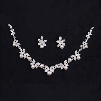 Harga Crown hair accessories wedding diamond bridal headdress earringsnecklace ((Necklace + earrings) style a) ((Necklace + earrings)style a)