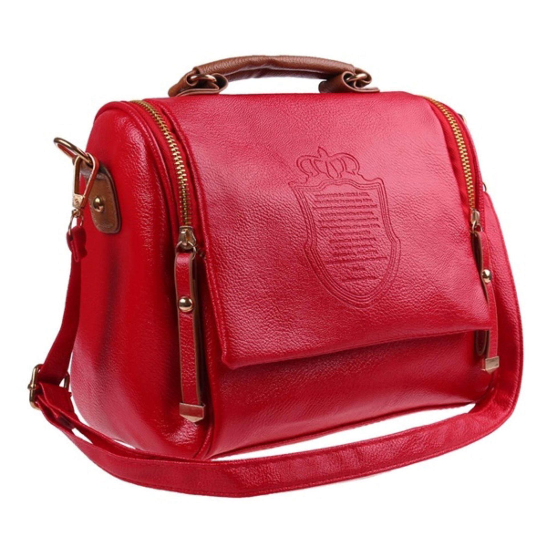 Kingdom Crown PU Leather Women Briefcase Style Handbag Shoulder Bag Passion Red