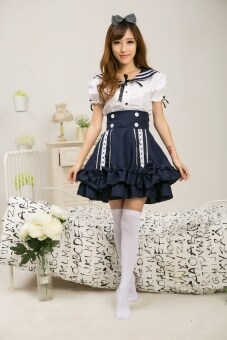 Harga Cute Lolita Girls Lady Sailor Suit Dress Navy Style Tops + Skirt School Uniform