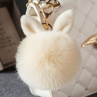 Harga Cute rabbit ear hair ball pendant fashion fur bag pendant plush car key buckle ornaments fur ball pendant (Beige)