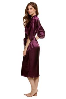 Cyber Sexy Woman Silk Strappy Sleepwear Long Bath Robes Night Gown Pajamas - 2