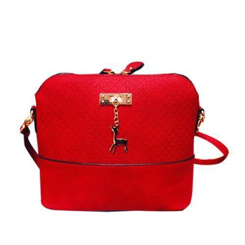Korean Stylish Deer Sling Messenger PU Leather Bag Cross Pattern for Women