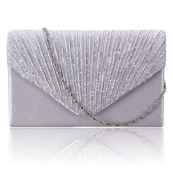 Diamante Women Evening Bag Satin Bridal Ladies Clutch Party Prom Envelope Bag White