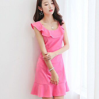 Harga Diana Korean-style pure color sleeveless dress (Rose red)