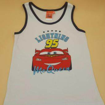 Disney Lightning Mcqueen Car Sporty T-shirt Tops Tee Clothes Toddler Infant Baby Boys Sleeveless Singlet - Ready Stock and 100% Genuine Product (White)