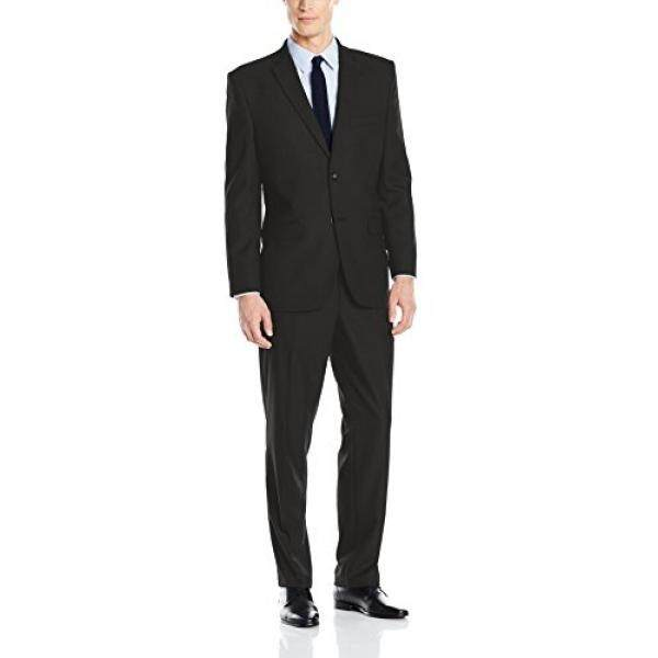 [DNKR]Greg Norman Mens Comfort Stretch Performance Traditional 2 Button Center Vent In a Modrn Fit Suit, Black, 42 Regular - intl