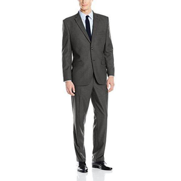 [DNKR]Greg Norman Mens Comfort Stretch Performance Traditional 2 Button Center Vent In a Modrn Fit Suit, Charcoal, 38 Regular - intl
