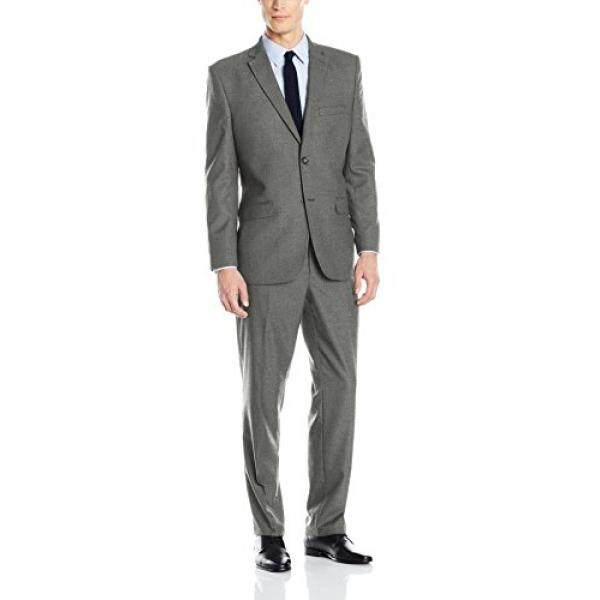[DNKR]Greg Norman Mens Comfort Stretch Performance Traditional 2 Button Center Vent In a Modrn Fit Suit, Grey Tech, 40 Regular - intl