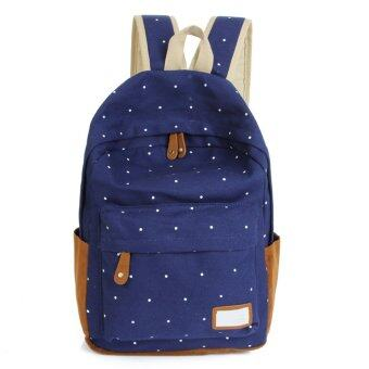 Dot Printing Students School Bags Women Canvas Backpack +Blue