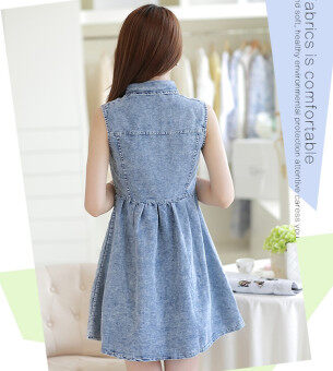 Double Style Closet Front Button Sleeveless Denim Dress - 3