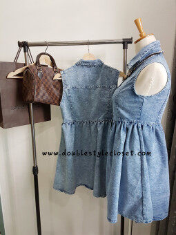 Double Style Closet Front Button Sleeveless Denim Dress - 5