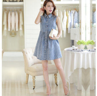 Double Style Closet Front Button Sleeveless Denim Dress - 2