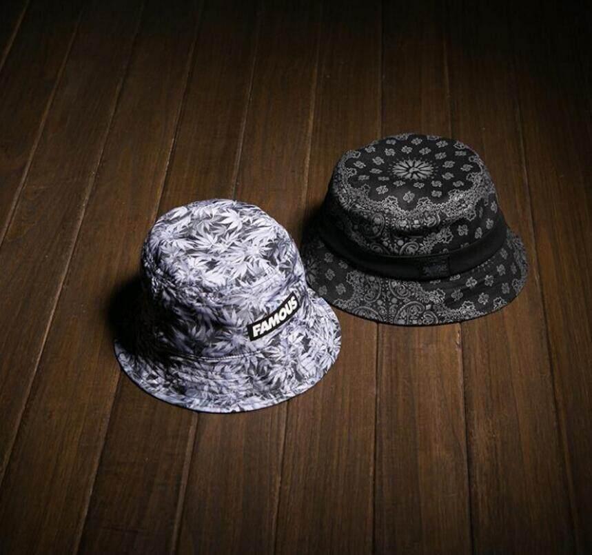 ... Ganda Pakaian Kapas Ember Topi Wanita Printed Panama Bob Topi Musim  Gugur Pria Keren Memancing Topi d16f4f7a02