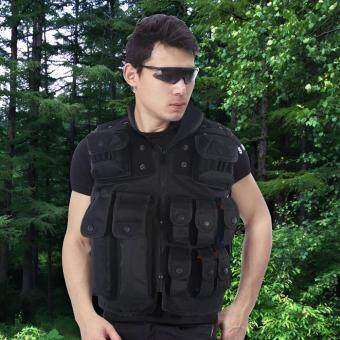 Harga Durable Combat Vest with Multiple Pouches for Outdoor AssaultAirsoft War games(55cm)