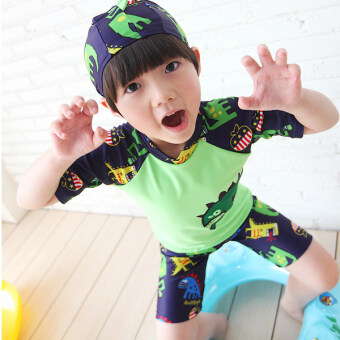 Harga E boy's split swimsuit (6007 green) (6007 green)
